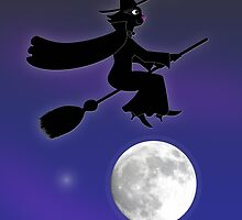 Black Cat Witch Flying Over Moon by SeaSerpent