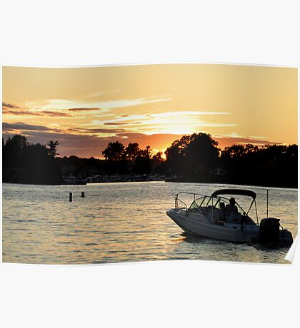 watching the sunset on the st. lawrence Poster