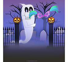 Ghost with Mask Between Two Jack O'Lanterns Photographic Print