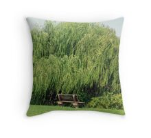 Bench By The Weeping Willow Throw Pillow