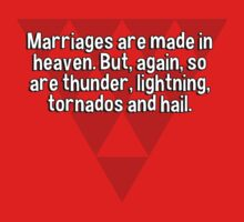 Marriages are made in heaven. But' again' so are thunder' lightning' tornados and hail. by margdbrown