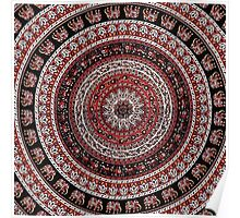 Tapestry Elephant Red Background Poster