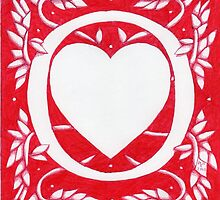 Red Heart Letter O by Donna Huntriss
