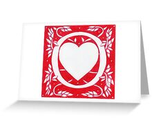 Red Heart Letter O Greeting Card