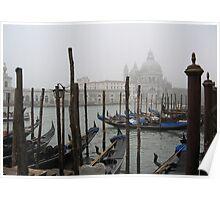Gondolas In The Mist Poster