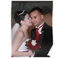 Bride and Groom Whispering Secrets Poster
