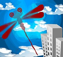 Digital painting a dragon fly in the sky. by tillydesign