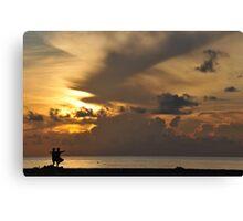 yoga and sunrise Canvas Print