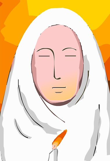 nun praying in candle light. by tillydesign
