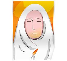 nun praying in candle light. Poster