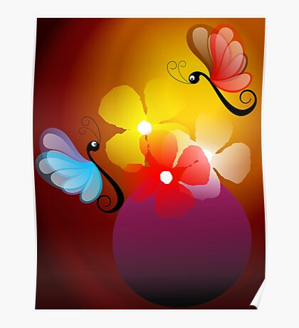 butterflies with flowers. Poster