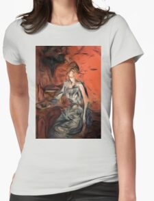 woman in blue dress Womens Fitted T-Shirt