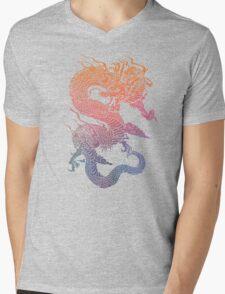 Colourful Chinese Dragon Mens V-Neck T-Shirt