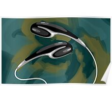 Digital painting of earphone with wires Poster