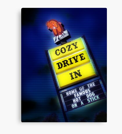 cozy drive in, route 66 Canvas Print