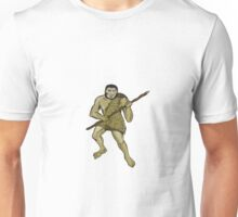 Neanderthal Man Holding Spear Etching Unisex T-Shirt