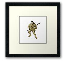 Neanderthal Man Holding Spear Etching Framed Print