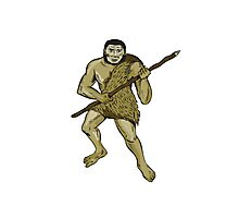 Neanderthal Man Holding Spear Etching Photographic Print