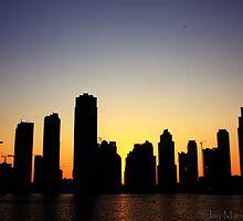 Black, Orange and Blue Sunset - Business Bay Horizon by einstein24