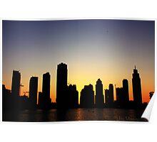Black, Orange and Blue Sunset - Business Bay Horizon Poster