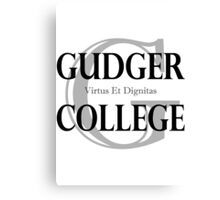 Gudger College (Black & Dark Grey text) Canvas Print