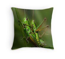 Grasshopper copulation in the grass Throw Pillow