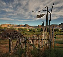 rural fence in the Utah desert by Catherine Ames