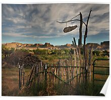 rural fence in the Utah desert Poster