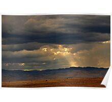 desert sky and light shaft, Utah Poster