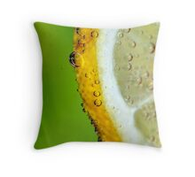 Lemon with bubbles under water Throw Pillow
