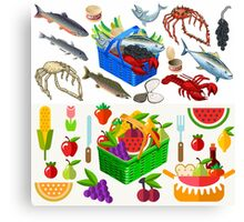 Food Set Fish, Vegetables and Fruit Canvas Print