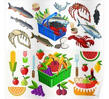 Food Set Fish, Vegetables and Fruit Poster