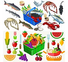 Food Set Fish, Vegetables and Fruit Photographic Print