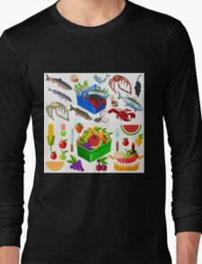 Food Set Fish, Vegetables and Fruit Long Sleeve T-Shirt