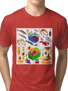 Food Set Fish, Vegetables and Fruit Tri-blend T-Shirt