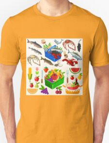 Food Set Fish, Vegetables and Fruit Unisex T-Shirt