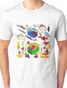 Food Set Fish, Vegetables and Fruit Unisex T-Shirt