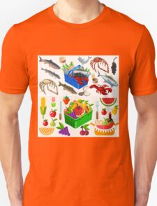 Food Set Fish, Vegetables and Fruit T-Shirt