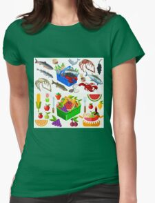 Food Set Fish, Vegetables and Fruit Womens Fitted T-Shirt