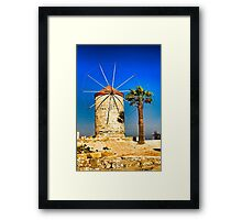 Ancient windmill in Rhodes Framed Print