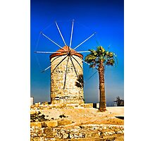 Ancient windmill in Rhodes Photographic Print