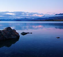 """pastel sunset"" lake tekapo, south island new zealand by rina  thompson"