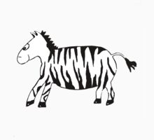 Black and White Striped Handpainted Zebra by Begow