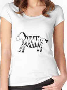 Black and White Striped Handpainted Zebra Women's Fitted Scoop T-Shirt