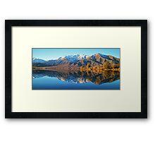 """evening glow""  lake benmore, south island, new zealand Framed Print"