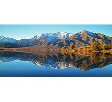 """evening glow""  lake benmore, south island, new zealand Photographic Print"