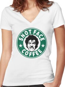 Snot Face Coffee Women's Fitted V-Neck T-Shirt