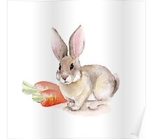 Rabbit and carrots. Watercolor illustration Poster