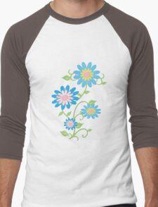 Fabric Flowers Men's Baseball ¾ T-Shirt