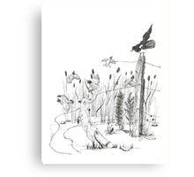 Fox & Quail - Pen & Ink Canvas Print